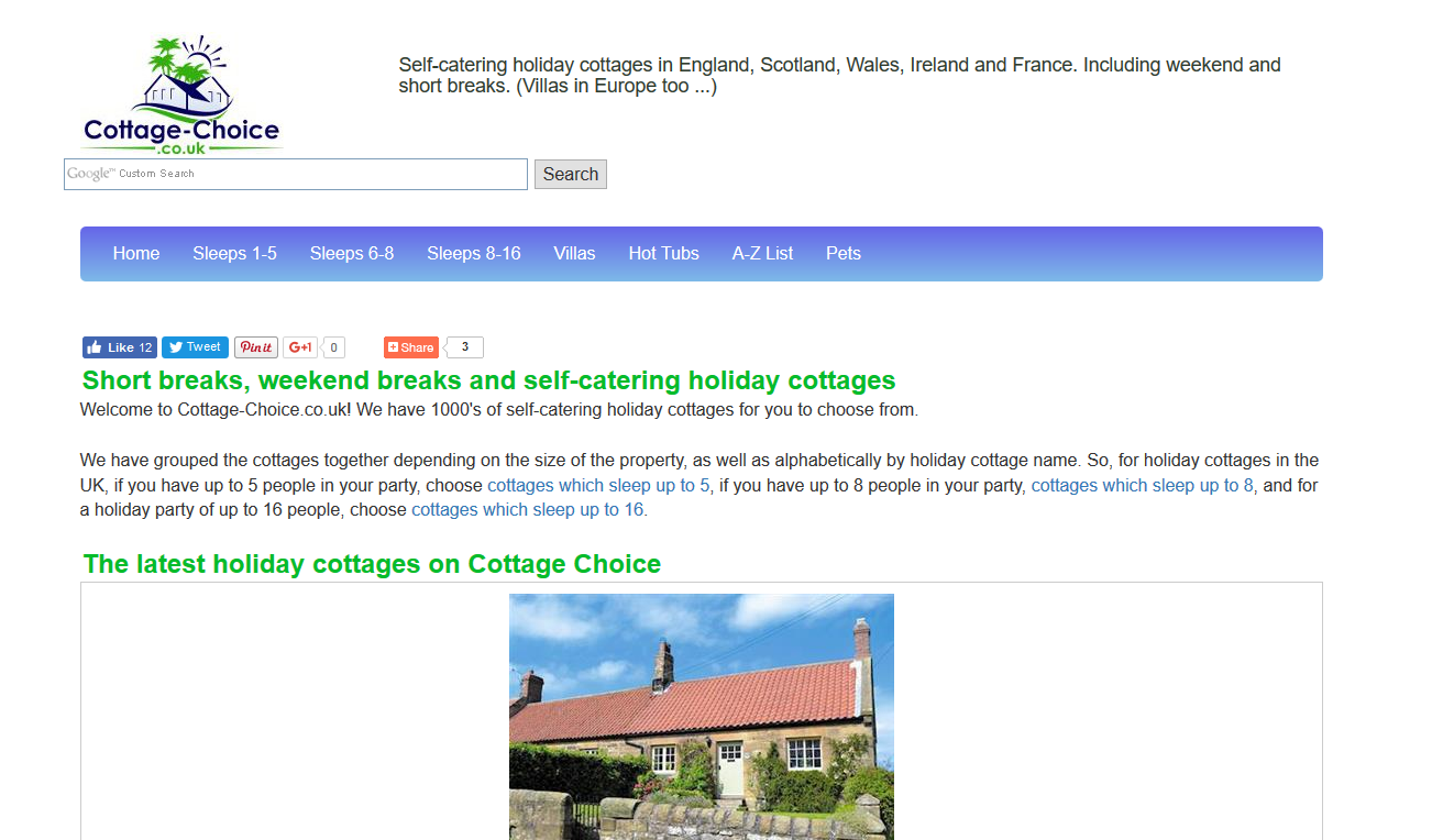 Cottage-Choice.co.uk screen